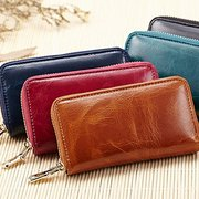 Men And Women Genuine Leather Solid 6 Key Holder Purse