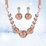 Luxo Lady's Rose Gold Bead Pingente Jóias Set Necklace Earrings para ela