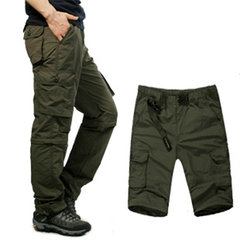 Mens Outdoor Elastic Waist Casual Pants Multi-pockets Detachable Sport Shorts