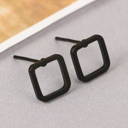 Trendy Concise Polka Dot Triangle Square Earrings Tricolor Geometric Hollow Punk Ear Stud