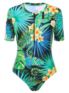 Printed Cover Belly One Piece Swimsuit Diving Suits For Women