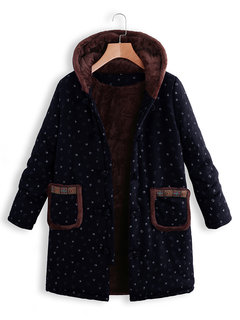 Vintage Print Hooded Long Sleeve Thick Coat
