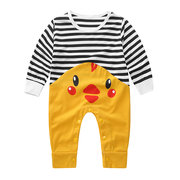 Cute Duck Printed Baby Romper + Hat Set For 0-24M
