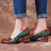 SOCOFY Vintage Hand Painted Flowers Pattern Splicing Butterfly Genuine Leather Slip On Pumps