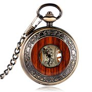 Vintage Wooden Pocket Men Watch Steampunk Hand Winding Skeleton Mechanical Watch Luxury Lover Gift