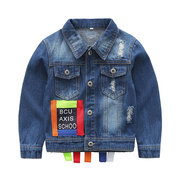 Letter Printed Boys Denim Coats For 2-11Years