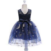 Hollow Lace Girls Kids Sleeveless Bow Pageant Formal Princess Vestido Para 3Y-13Y