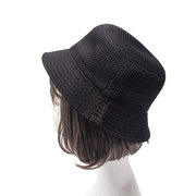 Ladies Polyester Fiber Solid Mesh Pattern Breathable Lightweight Low-Profile Fashion Bucket Cap