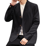 Mens Chinese Style Solid Color Long Sleeve Single-breasted Vintage Casual Jacket