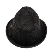 Women Straw Weave Mesh Breathable Curl Brim Addition Leather Belt Solid Fashion Jazz Hat