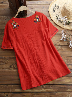 Casual Embroidery Split High Low Hem Short Sleeve Blouse