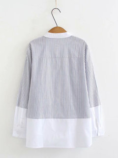 Casual Striped Patchwork Stand Collar Long Sleeve Blouse