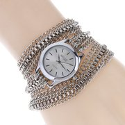 Trendy Mental Winding Chain Watch Gold Alloy Bracelet Quartz Watch For Women Waist Watch