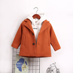 Solid Color Boys Turn-Down Collar Thick Warm Coat For 1Y-7Y