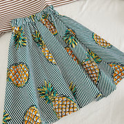 Pineapple Print Girls Summer Clothing Sets For 3-11Years