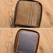 Portefeuille à trois volets vintage en cuir véritable multi-fonctionnel pour hommes