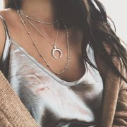 Three-layer Bohemian Clavicle Chain Dot Horns Alloy necklace multi-Layer Moon Pendant Female Models