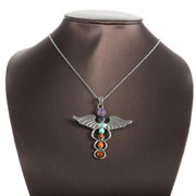 7 Chakra Stones Angel Wings Pendant Necklaces Yoga Reiki Healing Balancing Crystal Agate Necklaces
