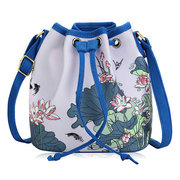 Women National Style Printing Casual Bucket Crossbody Bags Draw String Shoulder Bags