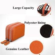 RFID Antimagnetic Women Men Genuine Leather Zipper Card Holder Purse