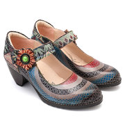 SOCOFY Floral Genuine Leather Splicing Circle Pattern Colorful Stripes Stitching Hook Loop Pumps