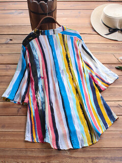 Vintage Multicolor Striped Print 3/4 Sleeve Blouse