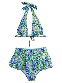 Bikinis de mujer Halter Triángulo floral Falda de cintura alta Trajes de baño sin espalda