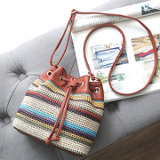 Women PU Leather Bohemian Wavy Striped Bucket Bag String Crossbody Bag