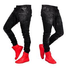 100% Baumwolle Tunnelzug Stone Washed Jeans mit mittlerer Taille Denim Pants für Männer