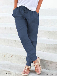 Casual Solid Color Elastic Waist Lace-up Pockets Pants