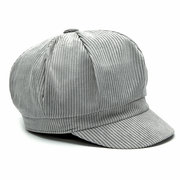 Men Women Vintage Corduroy Octagonal Cap Thick Warm Painter Hat