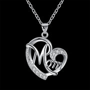 Classic Sweet Mom In Heart Necklaces Dazzling Zirconia Pendant Womens Necklaces Best Gift for Mom