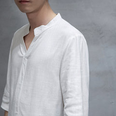 Mens Vintage Cotton Linen Solid Color V-neck Collar Tops Half-Sleeve Loose Casual Henley Shirts