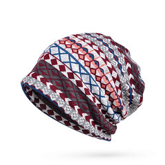 Impressão de manta feminina Beanies quentes Chapéu Bufanda Exterior Thicker Windproof High Stretch Bonnet Hat