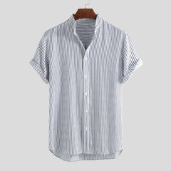 Mens Classic Striped Breathable Stand Collar Short Sleeve Casual Loose Shirts