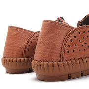 Men Hand Stitching Soft Hole Breathable Microfiber Fabric Shoes