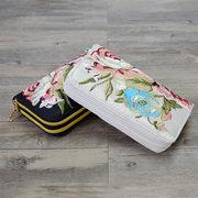 المرأة الوطنية نمط المحفظة طويلة مطرزة مزدوجة زيبر 5.5 بوصة حقيبة الهاتف