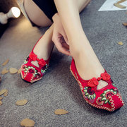 Chinês Nó Hollow Out Loafers Flat Vintage