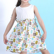 Contrast Stitching Sleeveless Girls Print Dress For 2-9Y