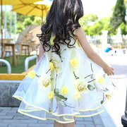Flower Design Layered Organ Girls Sleeveless Dresses For 6Y-15Y