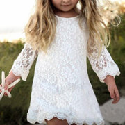 Lace Flower Patch Girls Long Sleeve Casual Dress For 1Y-7Y