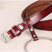 Women Pin Buckle Second Layer Leather Belt Ladies Big Ring Brief Jeans Dress Decoration Waist Belt