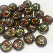 100Pcs 20mm Heart-shaped Wooden Buttons Round DIY Sewing Buttons