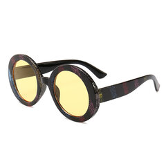 Womens Vintage Vogue UV400 Stripe Round Sunglasses Outdoor Travel Casual Glasses