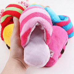 Cute Plush Slipper Shape Squeaky Toy Puppy Chew Play Toy Sound Pet Supplies for Dogs