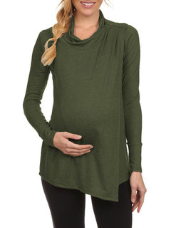 Casual Soft Cotton Maternity Long Sleeve Nursing Tops