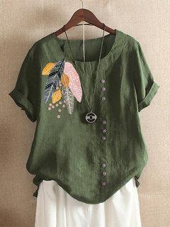 Богемный принт с листьями Кнопки Летняя футболка с коротким рукавом