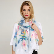 Womens Ink Printing Ethnic Style Cotton Linen Long Scarf Casual Travel Warm Ethnic Scarves Shawl