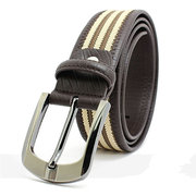 Men's Leather Belt Knitting Needle Buckle Retro Casual Canvas Belt