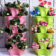 Stackable Planter Pots Garden Outdoor Strawberry Herb Flower Vegetable  Vertical Gardening
